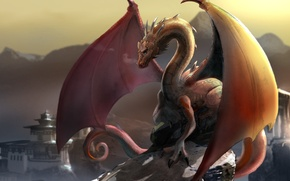 Picture the city, fantasy, dragon, wing, art