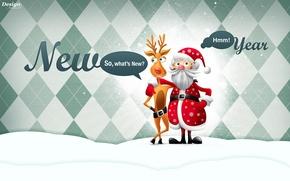 Picture new year, deer, Santa Claus