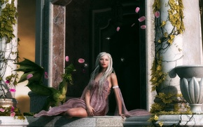 Picture look, girl, pose, green, rendering, dragon, wings, plants, petals