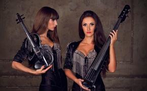 Picture music, girls, violin, guitar, leather, spikes, rock, brunette, black, rock-n-roll, violinist, dolls