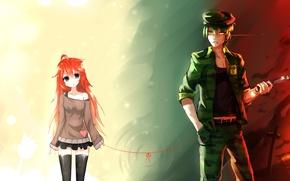 Wallpaper girl, anime, art, guy, thread, you, flaky, bai yemeng, flippy, happy tree friends