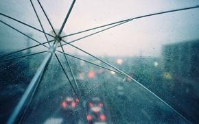 Wallpaper lights, umbrella, rain, drops