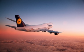 Picture Sunset, The sky, Mountains, The plane, Flight, Earth, Boeing, Boeing, 747, Lufthansa, In The Air, …