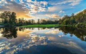 Picture landscape, sunset, nature, lake