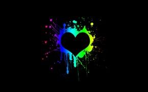 Wallpaper black, paint, heart, Heart