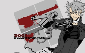 Picture guns, anime, art, guy, DOGS:Bullets & Carnage