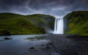 Picture mountains, river, waterfall, Iceland, Skogarfoss