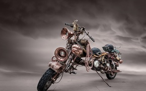 Picture machine, background, motorcycle