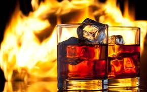 Picture ice, fire, flame, glasses, drink, whiskey
