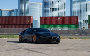 Picture BMW, black, matte, containers