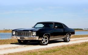 Picture retro, black, Chevrolet, classic, chrome, chevrolet, monte carlo, 1972, Monte Carlo