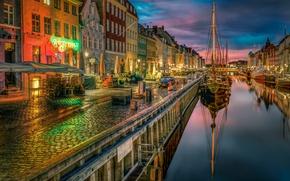 Picture ships, Denmark, channel, promenade, Denmark, Copenhagen, Copenhagen, New Harbor
