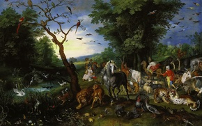 Wallpaper picture, mythology, Jan Brueghel the younger, The eviction of Animals in Noah's Ark