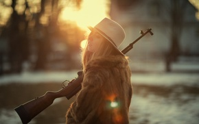 Picture girl, face, dawn, hat, fur, rifle, Marta