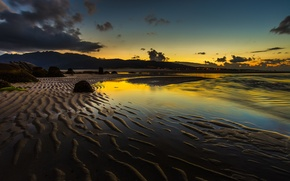 Picture sand, sea, the sky, mountains, clouds, stones, shore, the evening, tide