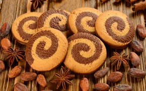 Picture Anis, star anise, grain, cookies, cinnamon, spiral, cocoa beans