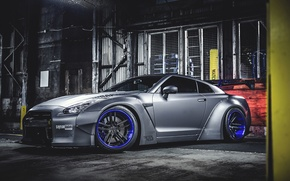 Wallpaper Nissan, GT-R, Car, Front, Tuning, Wheels, Spoiler, Liberty Walk, LB Perfomance