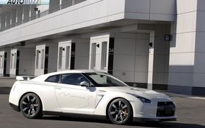 Picture white, the building, sports car, Nissan GTR