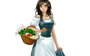 Picture girl, basket, dress, vegetables, the maid, viviane