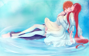 Picture Kurosaki Ichigo, inoue orihime, art, guy, bleach, anime, pair, iwonn, water, girl, stockings