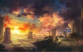 Wallpaper the sun, landscape, sunset, rocks, horses, art, riders, wild West