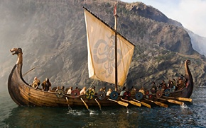 "Picture sea, the Vikings, ""ship-dragon"", Drakkar, sailors"