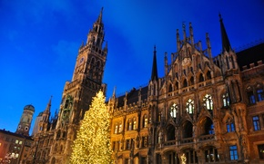 Picture the sky, lights, the evening, Germany, Munich, Christmas, town hall, Marienplatz