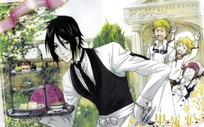Picture anime, art, Sebastian Michaelis, dark Butler