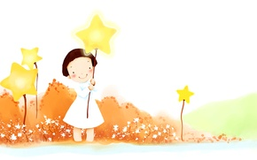 Picture smile, balloons, fantasy, stars, girl, the bushes, baby Wallpaper