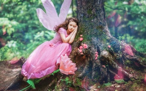 Picture forest, flowers, tree, sleep, wings, dress, fairy, girl, outfit, trunk, Diana Lipkina