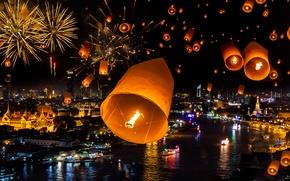 Picture night, lights, holiday, collage, ship, home, Bay, Bay, temple, Thailand, Thailand, lanterns, Bangkok