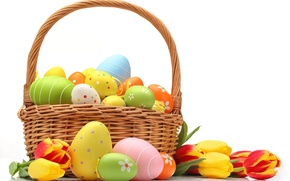 Picture basket, eggs, colorful, Easter, flowers, tulips, eggs, easter, basket