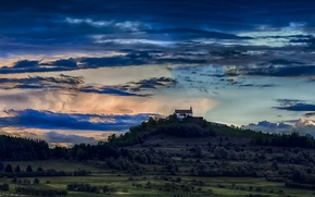 Picture trees, sunset, the evening, hill, Church