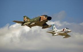 Picture the sky, flight, fighter, attack, F-4, multipurpose, Phantom II, deck, McDonnell Douglas, A-4 Skyhawk