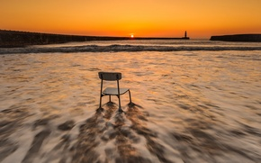Picture sea, sunset, chair
