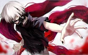 Picture anime, mask, art, guy, tokyo ghoul, Ken kanek, yellow skies, fami