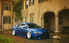Picture night, red, red, mitsubishi, lancer, evolution, evo, Lancer, Mitsubishi