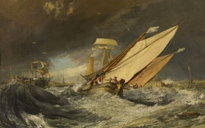 Picture Fishing Boats Enter the Harbour of Calais, picture, storm, ship, people, sea, wave, William Turner, …