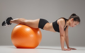 Wallpaper brunette, ball, workout, fitness
