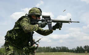 Picture soldier, trees, man, warrior, Canadian, pearls, assault rifle, uniform, ammunition, ordnance, training, camouflage, cartridge, Canadian …