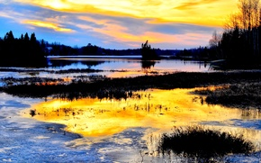 Picture Canada, nature, sunset, wood, water, lake, dawn, blue sky, beautiful scenery, Golden river