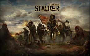 Wallpaper flag, monsters, soldiers, stalker, area, stalkers