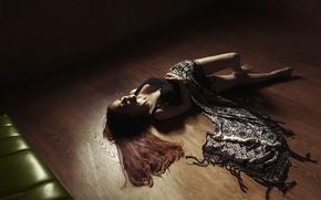 Wallpaper girl, face, hair, floor, fabric, lies, legs
