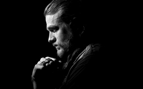 Picture actor, profile, male, the series, black background, Charlie Hunnam, Sons of Anarchy, Jax, Charlie Hunnam, …