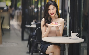 Picture girl, smile, street, plate, cafe, table, sweet