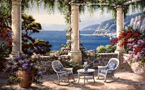 Picture flowers, picture, columns, painting, sea, terrace, painting, Sung Kim, Italian coast