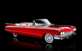 Wallpaper Cadillac, 1960, convertible, black background, Cadillac, Convertible, Sixty-Two