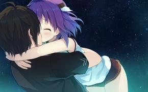 Picture kiss, anime, hugs, pair, Aokana