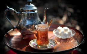 Wallpaper kettle, sugar, tea