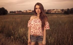 Picture summer, girl, shorts, portrait, Mike, brown hair, beautiful, beautiful, bokeh, Alexandra, Dmitrij Butvilovskij, Alexandra Danilova, …